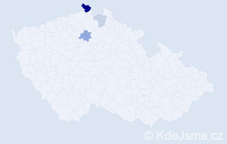 Příjmení: 'Lacheová', počet výskytů 6 v celé ČR