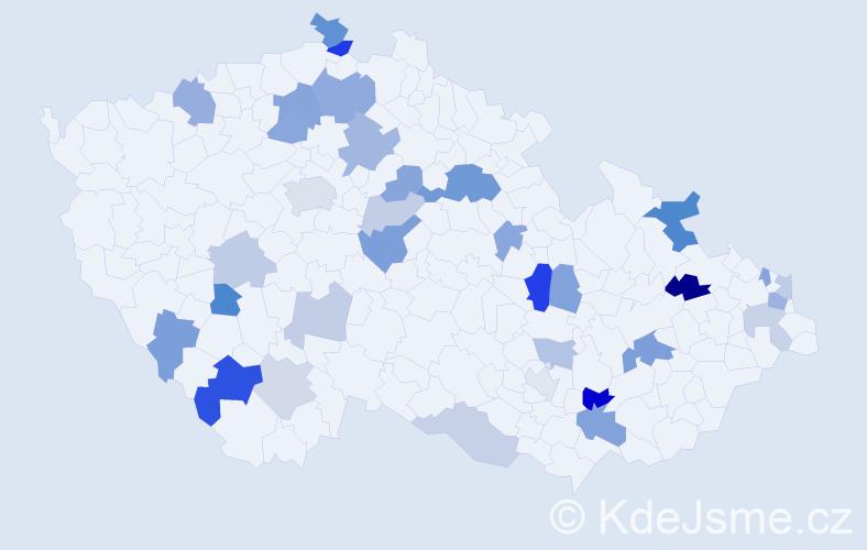 Příjmení: 'Čelková', počet výskytů 60 v celé ČR