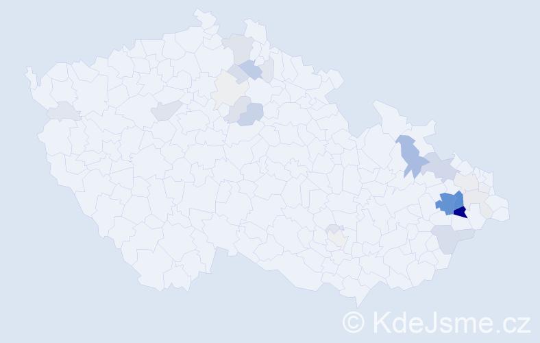 Příjmení: 'Hoďáková', počet výskytů 117 v celé ČR