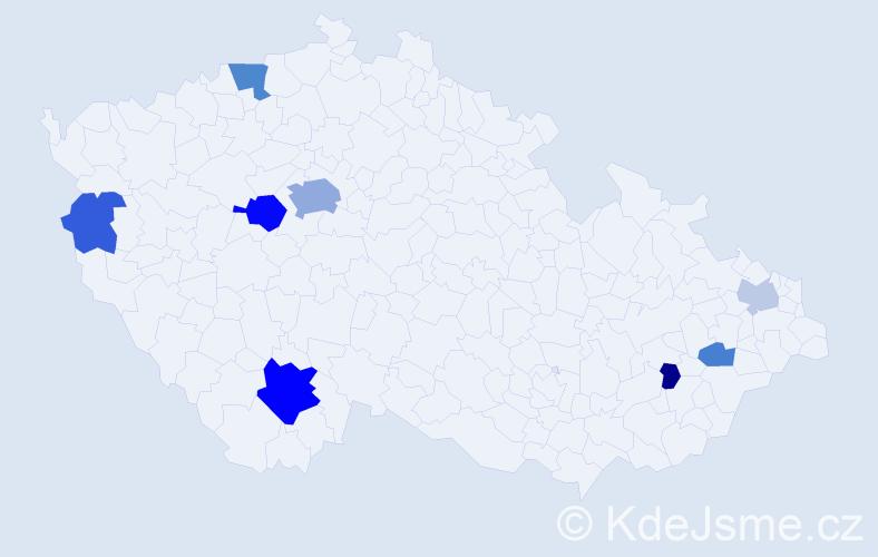 Příjmení: 'Hunt', počet výskytů 18 v celé ČR