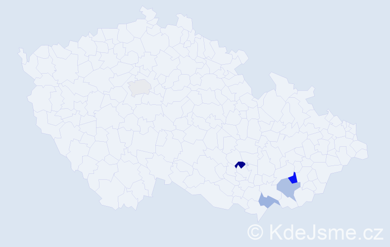 Příjmení: 'Kopálek', počet výskytů 15 v celé ČR
