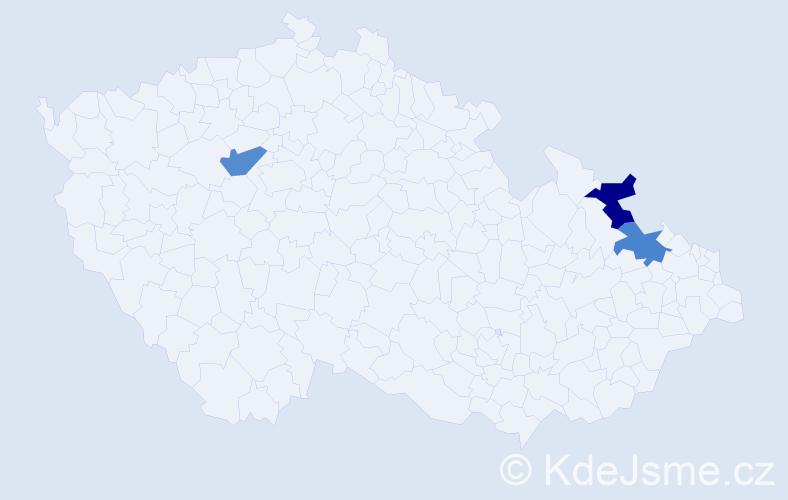 Příjmení: 'Hassák', počet výskytů 3 v celé ČR
