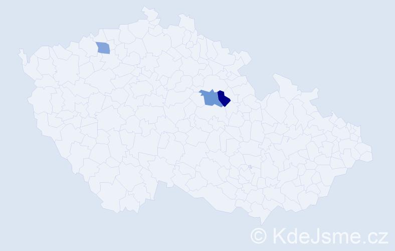 Příjmení: 'Deriková', počet výskytů 4 v celé ČR