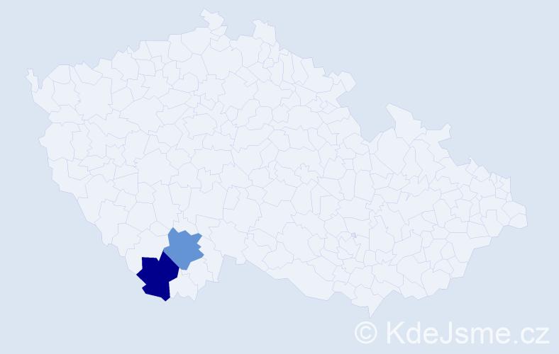 Příjmení: 'Bagoniová', počet výskytů 2 v celé ČR