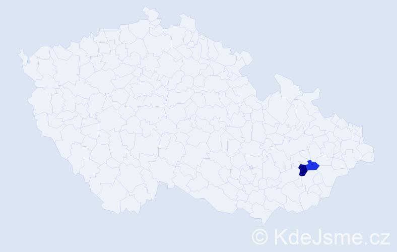 Příjmení: 'Bajczerová', počet výskytů 3 v celé ČR