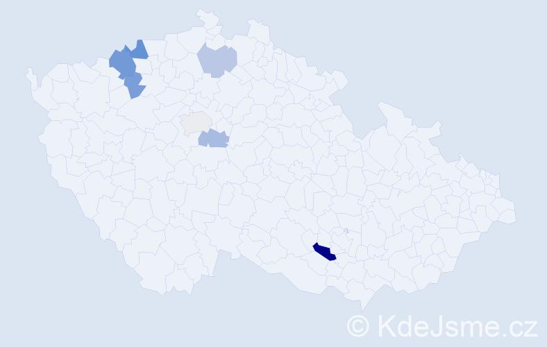 Příjmení: 'Kekel', počet výskytů 12 v celé ČR