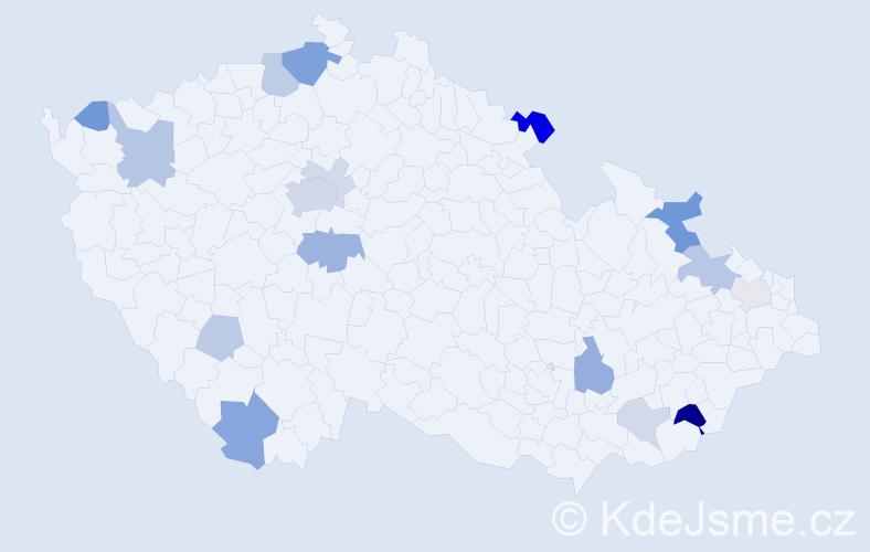 Příjmení: 'Gabaj', počet výskytů 40 v celé ČR