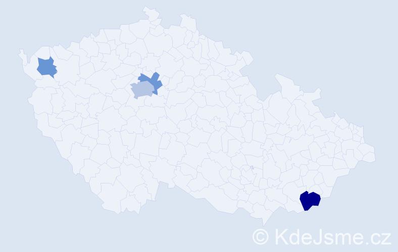 Příjmení: 'Čmolová', počet výskytů 7 v celé ČR