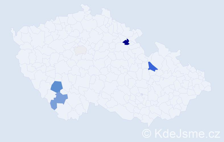 Příjmení: 'Fügner', počet výskytů 8 v celé ČR