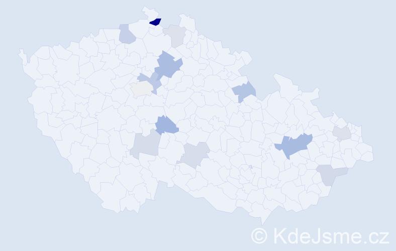 Příjmení: 'Gavurová', počet výskytů 25 v celé ČR
