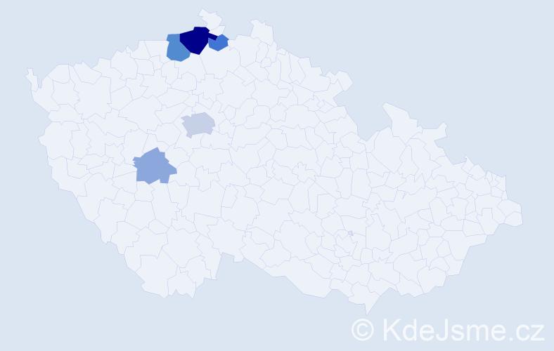 Příjmení: 'Knyová', počet výskytů 14 v celé ČR