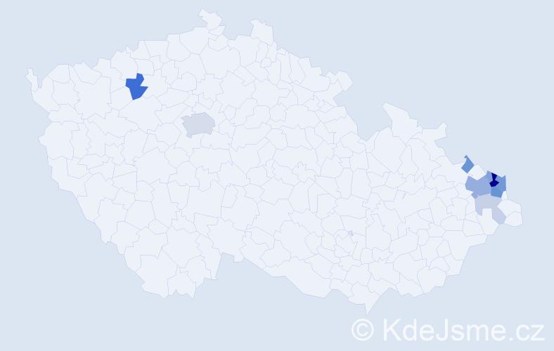 Příjmení: 'Blacha', počet výskytů 28 v celé ČR