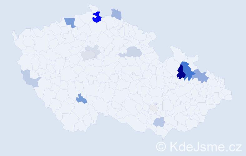 Příjmení: 'Hesse', počet výskytů 43 v celé ČR