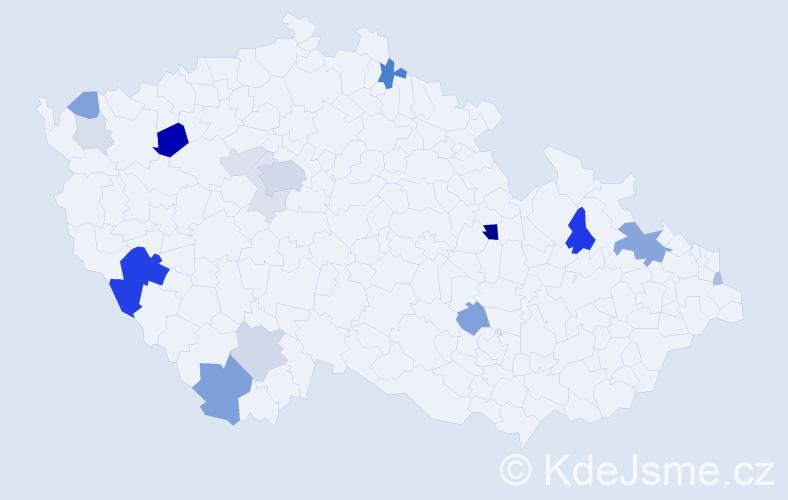 Příjmení: 'Herrman', počet výskytů 53 v celé ČR
