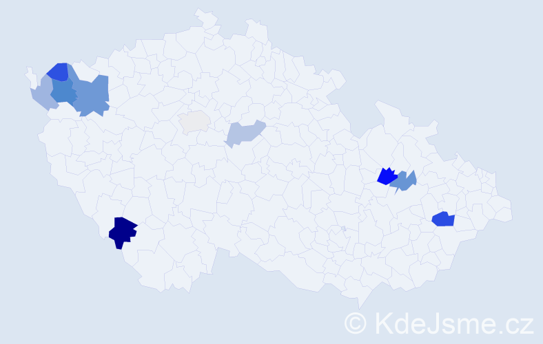 Příjmení: 'Cimbala', počet výskytů 19 v celé ČR