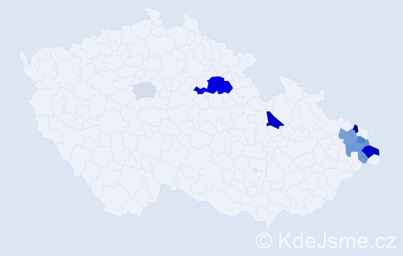 Příjmení: 'Gembalová', počet výskytů 38 v celé ČR