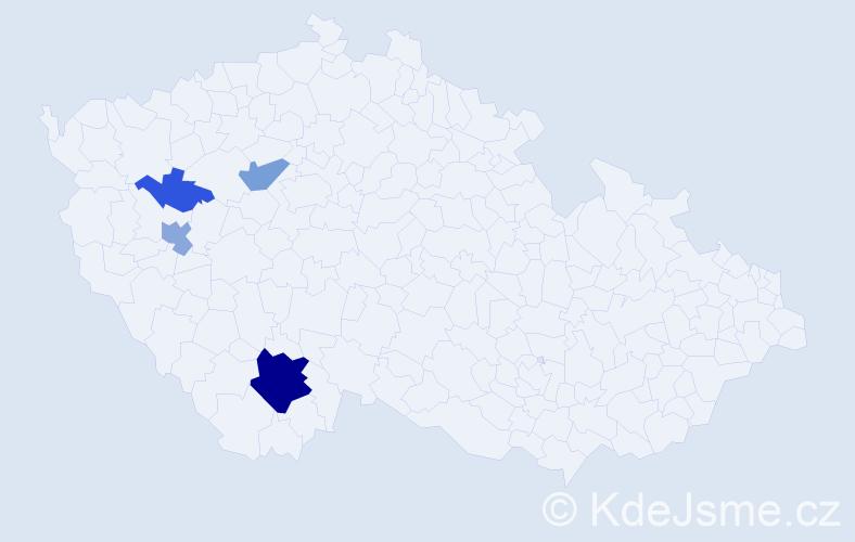 Příjmení: 'Kocmoud', počet výskytů 13 v celé ČR