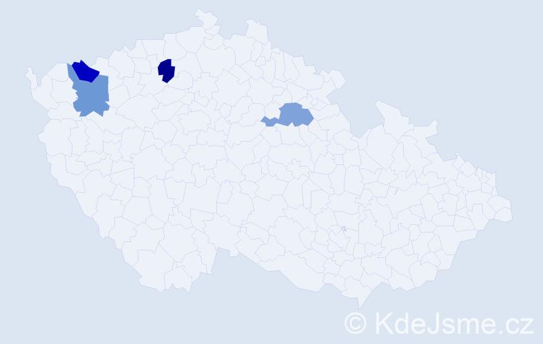 Příjmení: 'Gazdačková', počet výskytů 4 v celé ČR