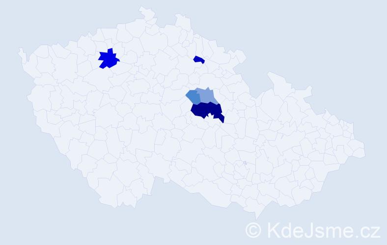Příjmení: 'Alinč', počet výskytů 13 v celé ČR