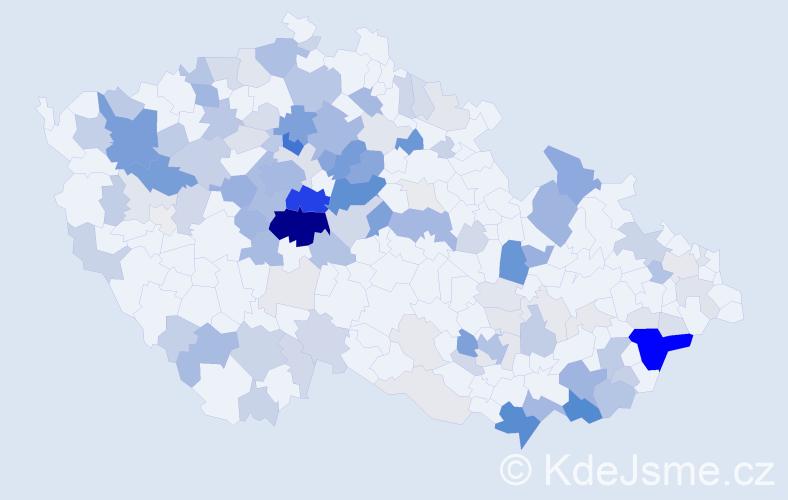 Příjmení: 'Hnátek', počet výskytů 456 v celé ČR