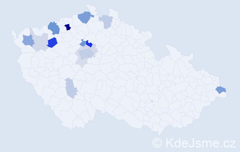 Příjmení: 'Deme', počet výskytů 45 v celé ČR