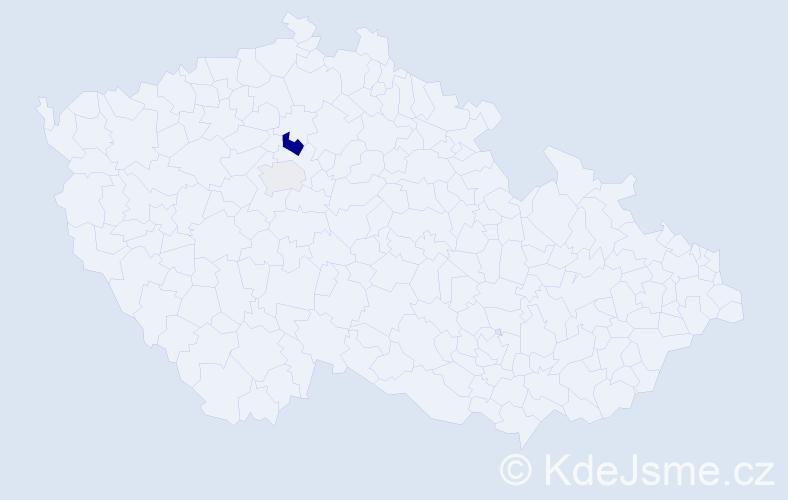 Příjmení: 'Hubala', počet výskytů 5 v celé ČR