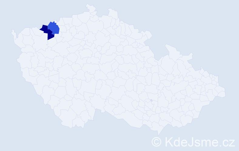 Příjmení: 'Delin', počet výskytů 2 v celé ČR