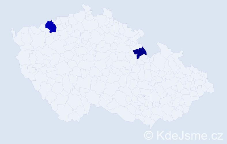 Příjmení: 'Káčeríková', počet výskytů 3 v celé ČR