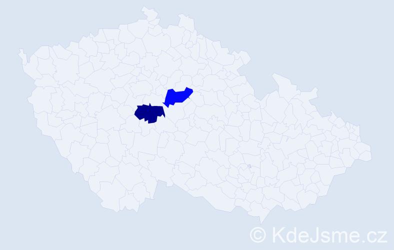 Příjmení: 'Badža', počet výskytů 2 v celé ČR