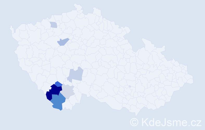 Příjmení: 'Augsbergerová', počet výskytů 14 v celé ČR