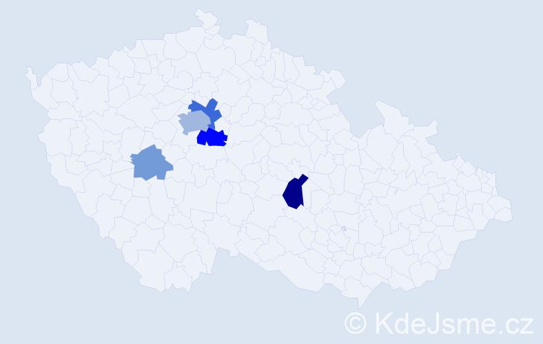 Příjmení: 'Hampejsek', počet výskytů 12 v celé ČR