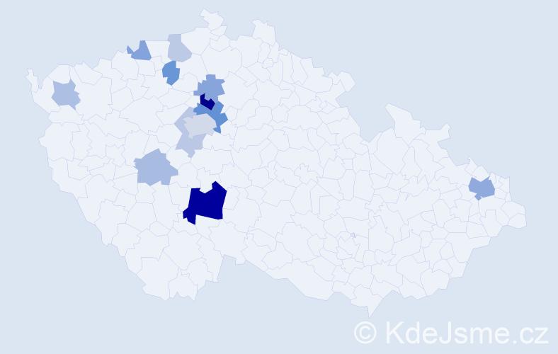 Příjmení: 'Koktan', počet výskytů 28 v celé ČR