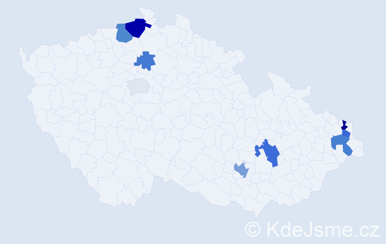 Příjmení: 'Jandušíková', počet výskytů 18 v celé ČR