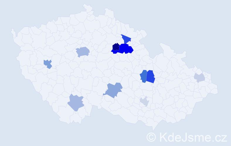 Příjmení: 'Dlabáčková', počet výskytů 21 v celé ČR