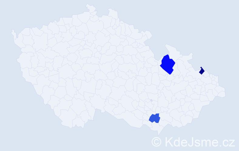 Příjmení: 'Gewiese', počet výskytů 9 v celé ČR