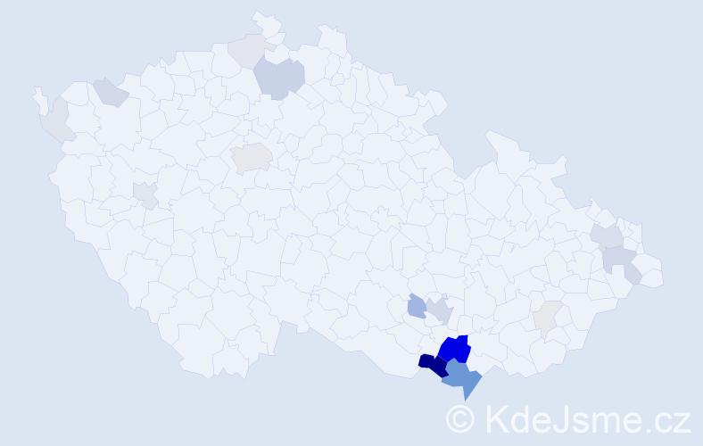 Příjmení: 'Kadrnka', počet výskytů 71 v celé ČR