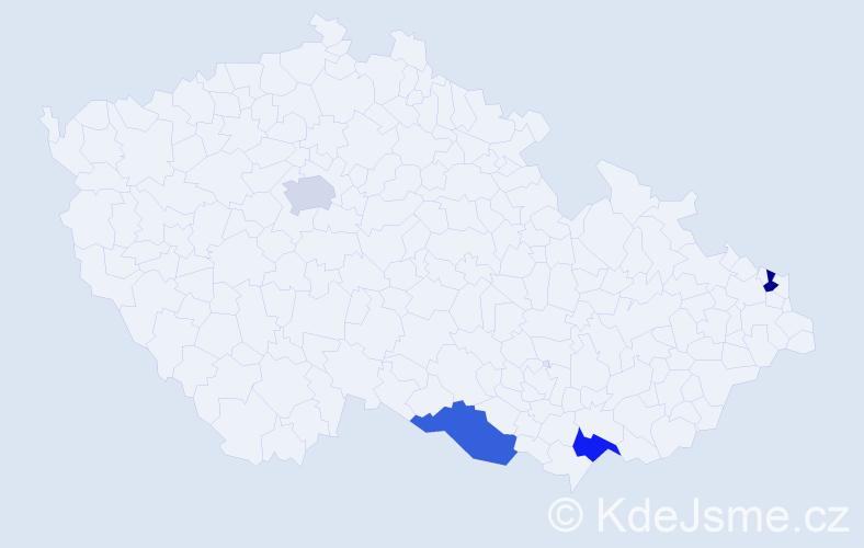 Příjmení: 'Gigel', počet výskytů 4 v celé ČR