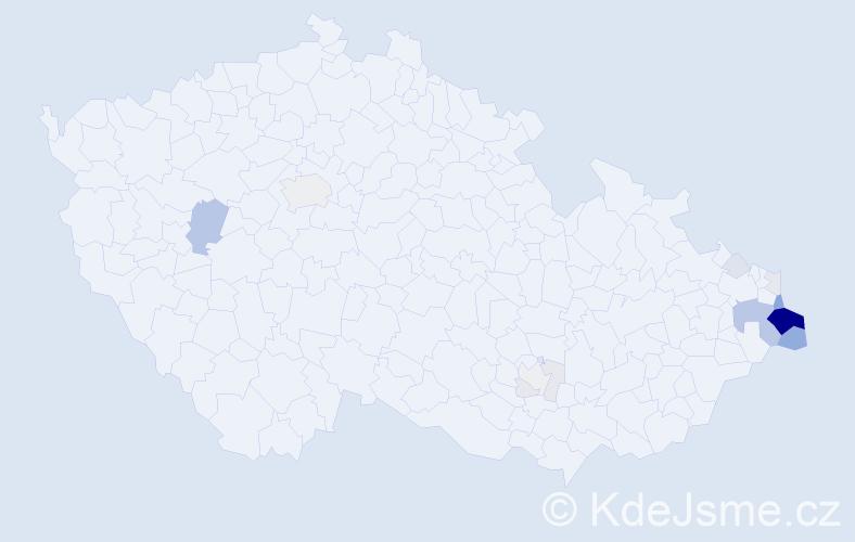 Příjmení: 'Gajdzica', počet výskytů 65 v celé ČR