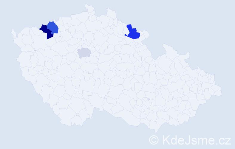 Příjmení: 'Hynová', počet výskytů 4 v celé ČR