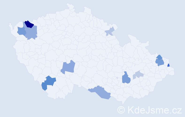Příjmení: 'Ďurian', počet výskytů 31 v celé ČR