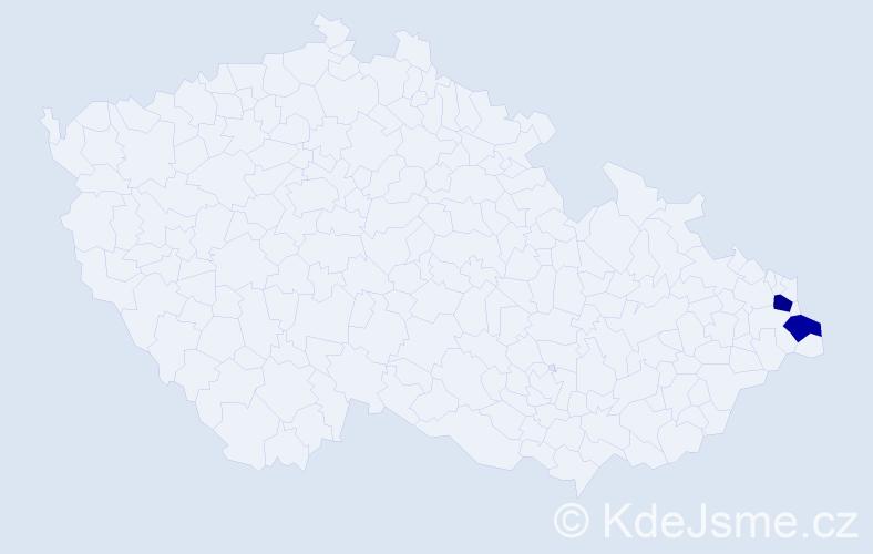 Příjmení: 'Agac', počet výskytů 5 v celé ČR