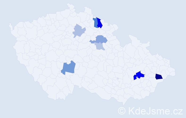 Příjmení: 'Fabišík', počet výskytů 17 v celé ČR