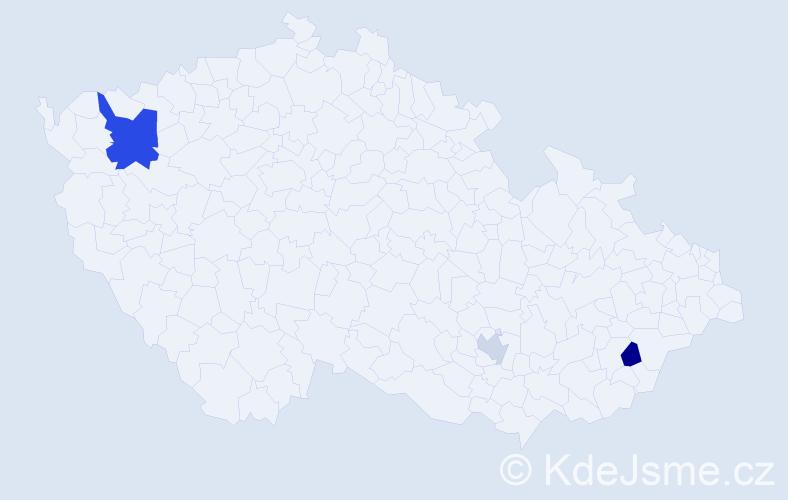 Příjmení: 'Cihová', počet výskytů 5 v celé ČR