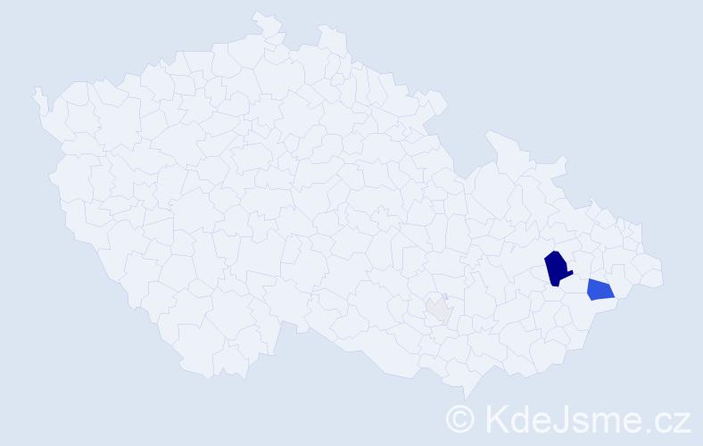 Příjmení: 'Baštán', počet výskytů 14 v celé ČR