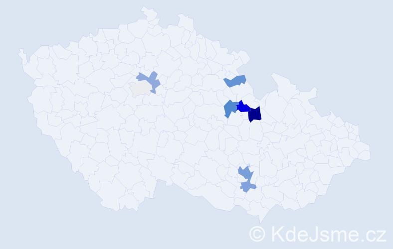 Příjmení: 'Harnach', počet výskytů 22 v celé ČR