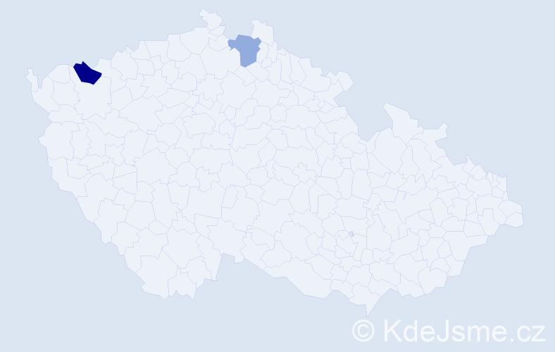 Příjmení: 'Čabín', počet výskytů 5 v celé ČR