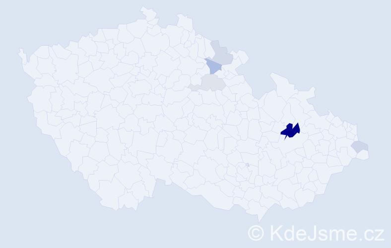 Příjmení: 'Čipelová', počet výskytů 10 v celé ČR