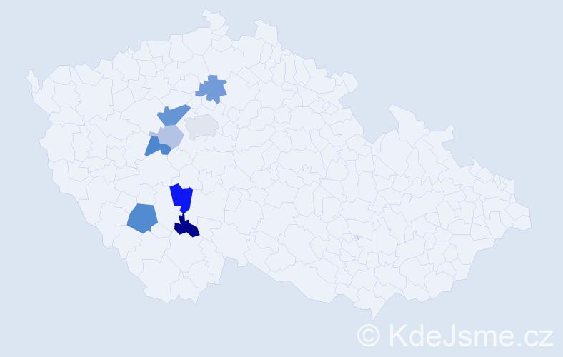 Příjmení: 'Kluiberová', počet výskytů 20 v celé ČR