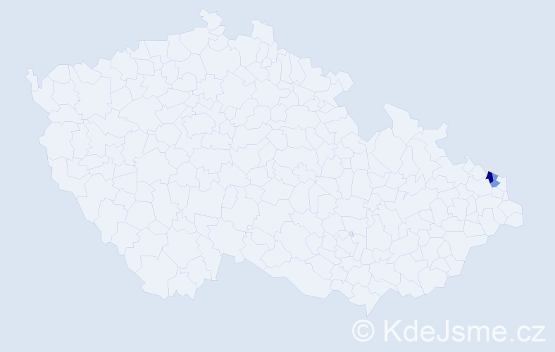 Příjmení: 'Lajczoková', počet výskytů 3 v celé ČR