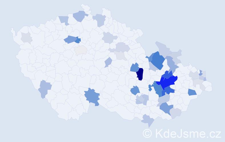 Příjmení: 'Kluka', počet výskytů 144 v celé ČR